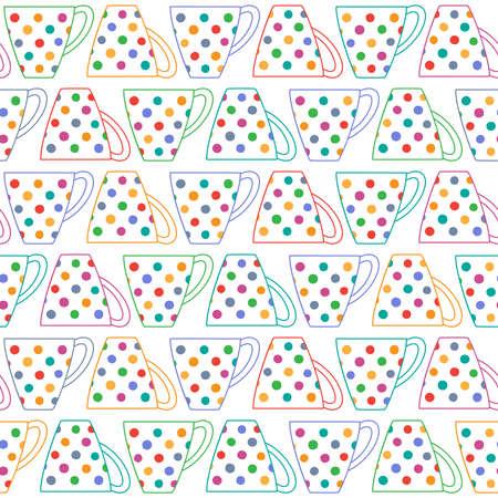 Sfondo trasparente con tazze di t� in colorato multicolore a pois su bianco
