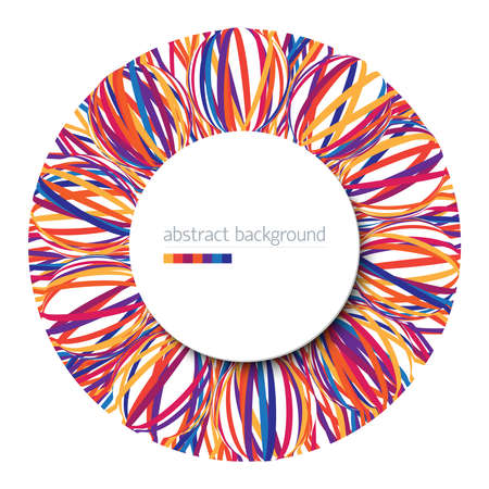 Abstract background with circle from vivid multicolored stripes on white backdrop and place for your text Illustration