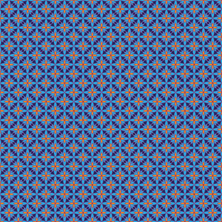 Abstract seamless pattern with a lot of bright elements in blue and orange colors