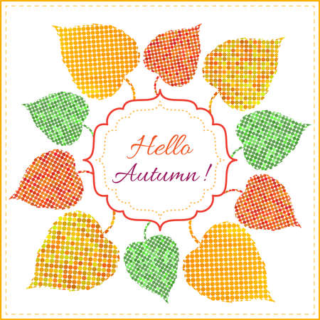 Autumn background with bright multicolored leaves from circles, frame and text. Can be used as invitation or greeting card Illustration