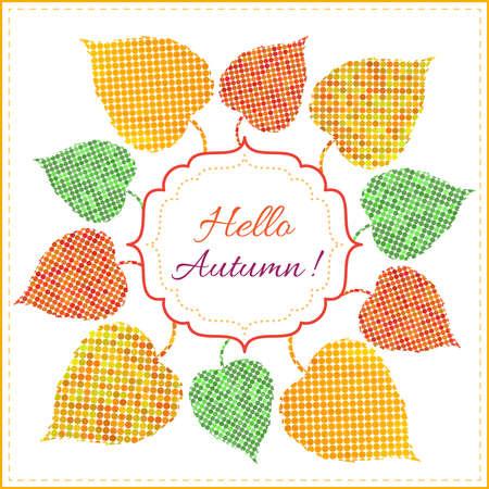 Sfondo autunno con le foglie colorate luminose da circoli, cornice e il testo. Pu� essere usato come invito o biglietto di auguri Vettoriali