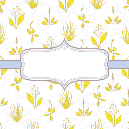 herb garden: Elegant background with yellow grass on white background with blue contours of circles and ovals Illustration
