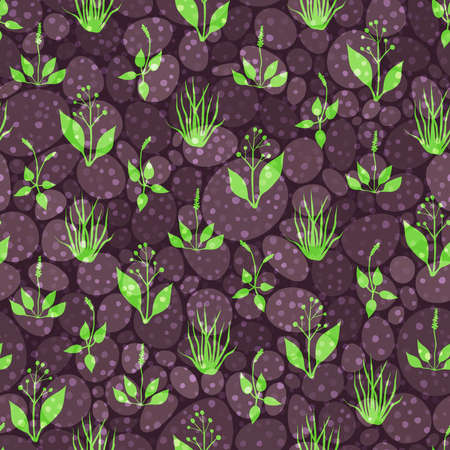 plantain herb: Seamless pattern with green grass and brown stones on spotted background Illustration