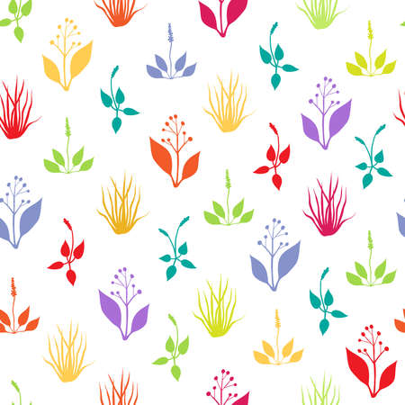 hayfield: Seamless pattern with multicolored herbs on white background
