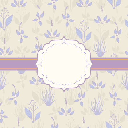 hayfield: Background with lilac grass on light beige backdrop with frame Illustration