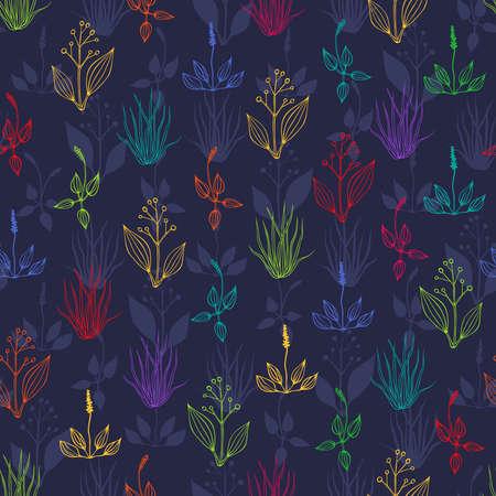 De fondo sin fisuras con las hierbas multicolores en oscuro tel�n de fondo azul Vectores
