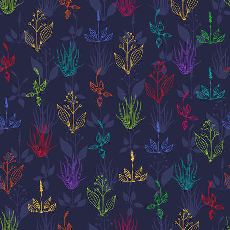 hayfield: Seamless background with multicolored herbs on dark blue backdrop