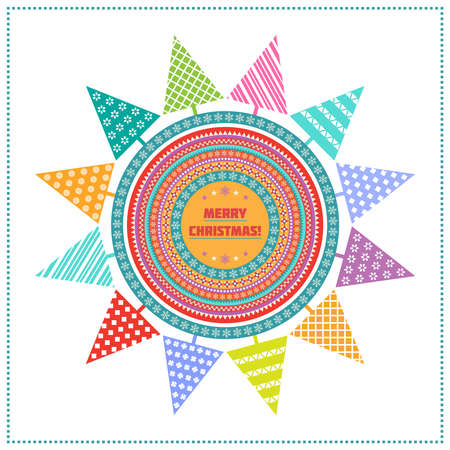 Bright Christmas background with multicolored fir trees, patterned circles and greeting text on white backdrop