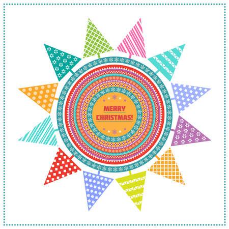 Fondo brillante de Navidad con �rboles de abeto, c�rculos multicolores estampados y el texto de felicitaci�n en blanco tel�n de fondo