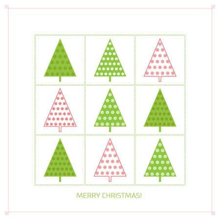 Fondo con �rboles de abeto con dibujos rojos y verdes en marcos cuadrados verdes en el contexto blanco Vectores