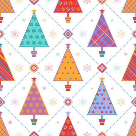 Natale seamless con multicolori abeti fantasia con stelle e fiocchi di neve su sfondo bianco