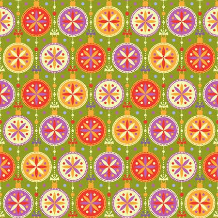 Seamless pattern con palle multicolori luminosi e fiocchi nei colori rosso, giallo, lilla e bianco su sfondo verde