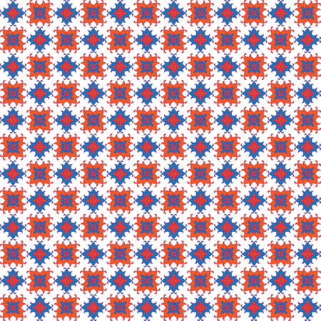 alternate: Abstract seamless background with orange and blue decorative elements on white backdrop Illustration