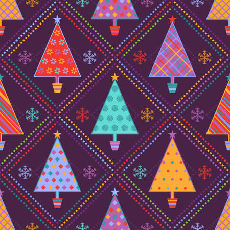 christmas fun: Multicolored seamless background with ornamental fir trees in pots and snowflakes on dark purple backdrop