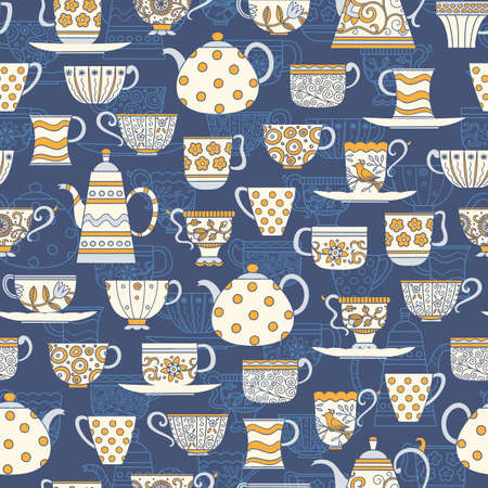 Decorative seamless background with teacups, teapots and plates in white, blue and yellow colors on dark blue backdrop