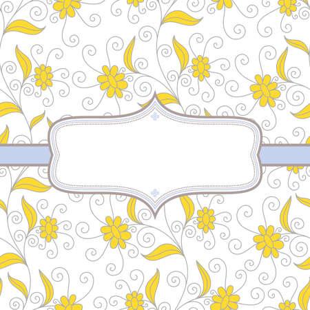 Achtergrond met bloemen in gele en bruine kleuren op een witte achtergrond met frame voor uw tekst