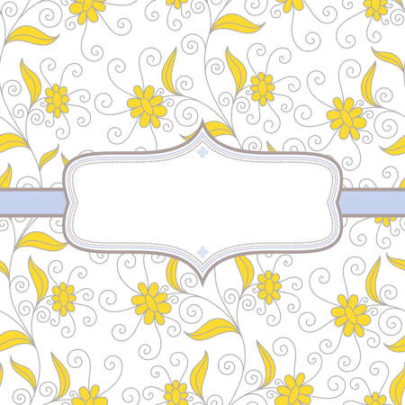 Background with flowers in yellow and brown colors on white background with frame for your text