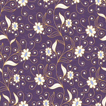 stalk: Seamless background with flowers and leaves in yellow and white colors on dark lilac backdrop