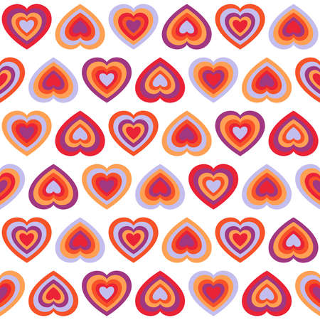 inverse: Seamless pattern with big bright hearts in red, yellow and purple colors placed in direct and inverse position on white background