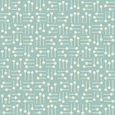 Seamless background with abstract white elements from circles and lines placed in perpendicular position on turquoise backdrop Illustration