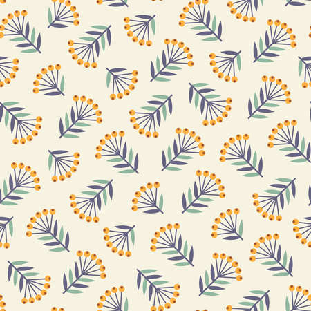 creamy: Seamless pattern with abstract decorative plants with orange berries, turquoise and dark blue leaves on creamy white background
