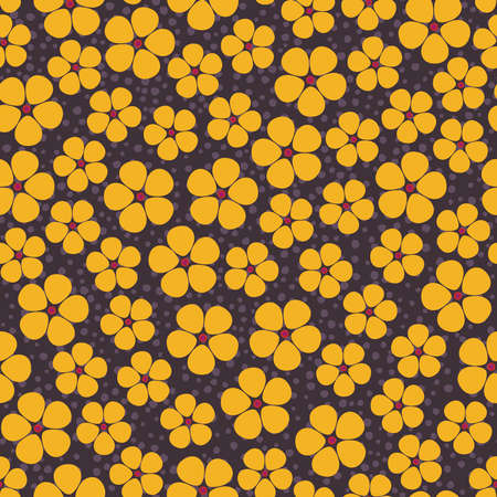 spotty: Seamless background with abstract yellow flowers on brown spotty backdrop