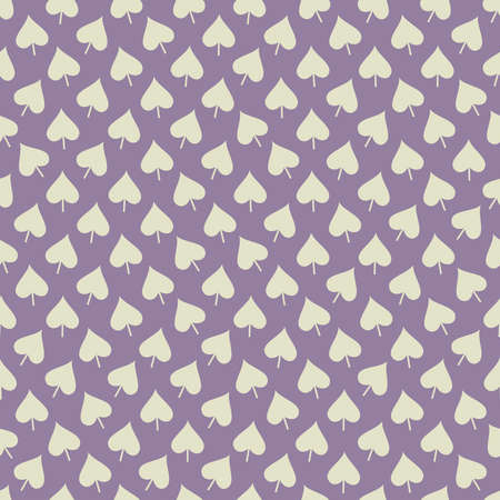 Abstract seamless pattern with creamy white leaves placed in chaotic order on lilac background
