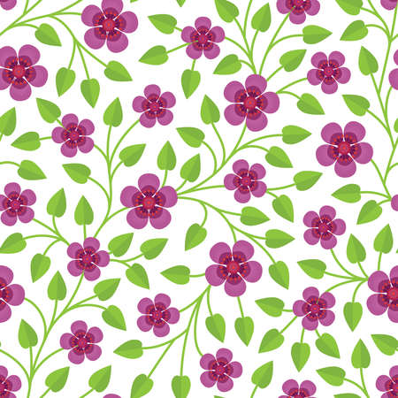 Elegant seamless pattern with decorative plants with green leaves and pink flowers with a lot of orange stamens on white background