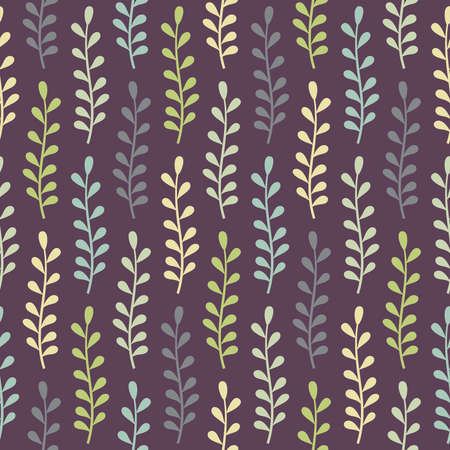 Abstract seamless pattern with multicolored plants in green, turquoise and beige colors on dark violet background Illustration