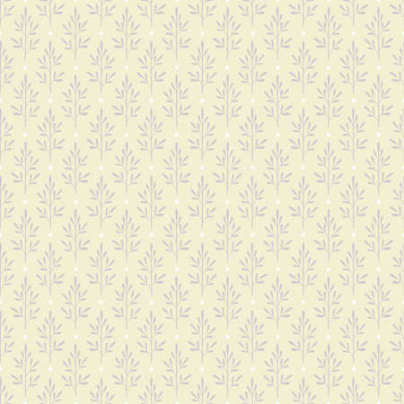 Seamless pattern with a lot of abstract grey plants on beige background decorated with white dots Illustration