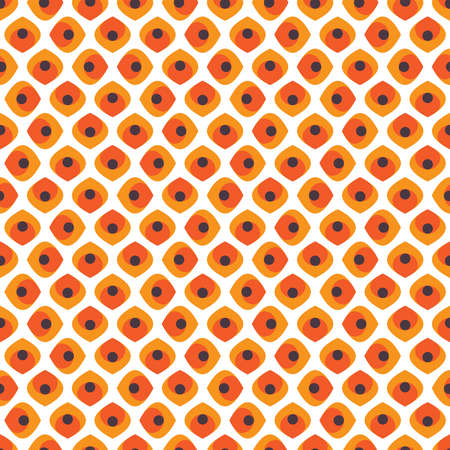 Seamless pattern with abstract elements in orange and yellow colors with brown circles on white background