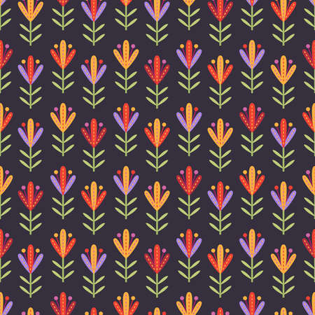 Seamless pattern with decorative flowers with big stamens in red, yellow and lilac colors on dark purple background Illustration