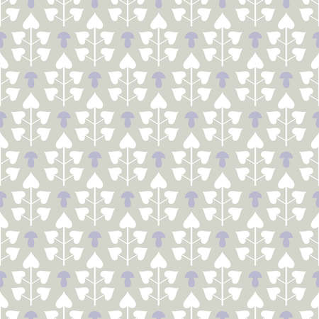 Seamless pattern with abstract white leaves and lilac mushrooms on grey background Illustration
