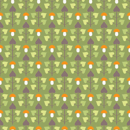 Autumn seamless pattern with abstract trees in green and brown colors and mushrooms on green background