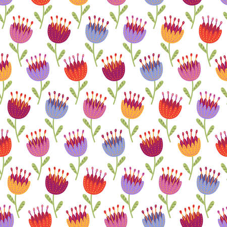 Seamless pattern with colorful flowers in red, yellow, blue and lilac colors on white background