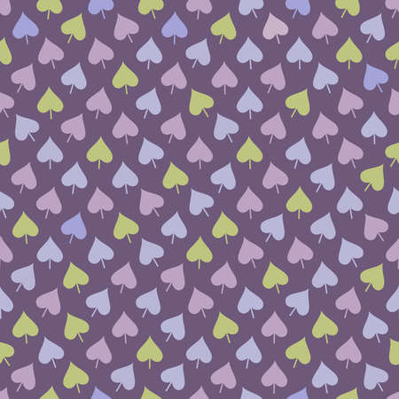 Abstract seamless pattern with green, blue and lilac leaves placed in chaotic order on purple background