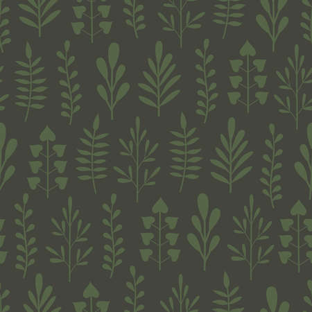 Abstract seamless background with green plants in different shapes on dark green backdrop