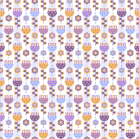 Seamless background with flowers in lilac, yellow and blue colors on white backdrop and light blue stripes