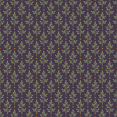 Seamless pattern with abstract plants in green and brown colors and orange dots on dark background