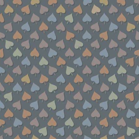 Abstract seamless background in pastel colors with leaves placed in chaotic order with shadows