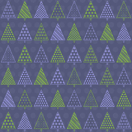 Seamless background with decorative fir trees in green and lilac colors on dark blue backdrop Illustration