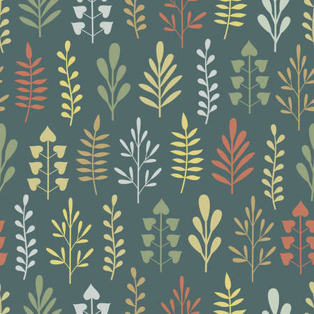 Seamless pattern with abstract multicolored plants in different shapes on dark green-blue background