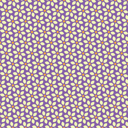 Seamless pattern with a lot of abstract white flowers on lilac background