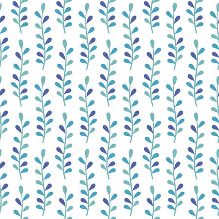 Abstract seamless background with plants in blue colors on white backdrop