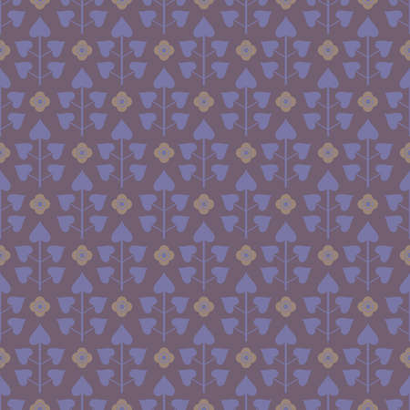 Seamless pattern with lilac leaves and abstract decorative flowers in beige colors on dark lilac