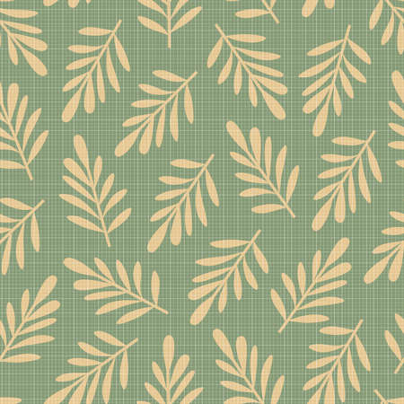 Abstract seamless pattern with big beige leaves on green background and transparent texture from a lot of squares Illustration