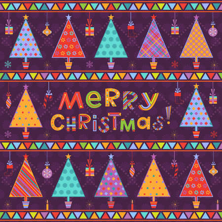 Christmas background with ornamental multicolored fir trees in pots with snowflakes, balls, gifts, candles and greeting text on dark purple backdrop Illustration