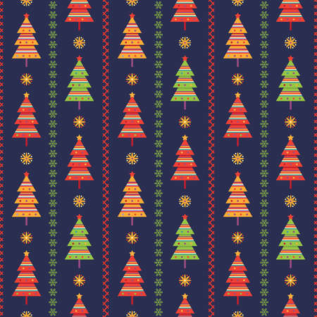 Christmas seamless background with green, red and yellow fir trees and decorative strips from snowflakes and embroidery stitches on dark blue backdrop