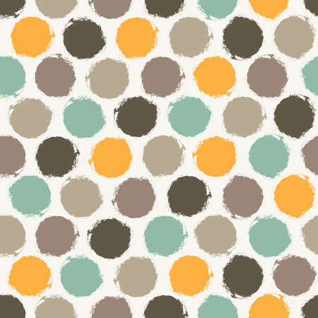 Abstract seamless pattern with multicolored grunge circles on white background