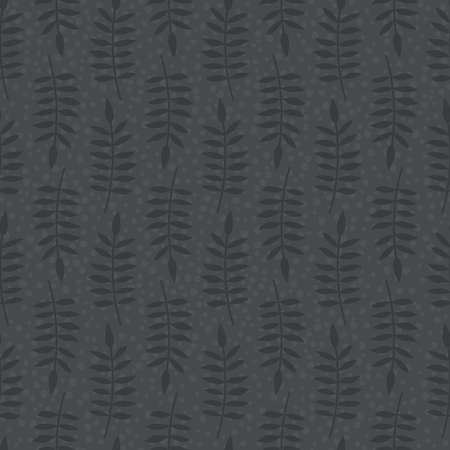 Seamless pattern with abstract leaves placed in direct and inverse position in brown colors